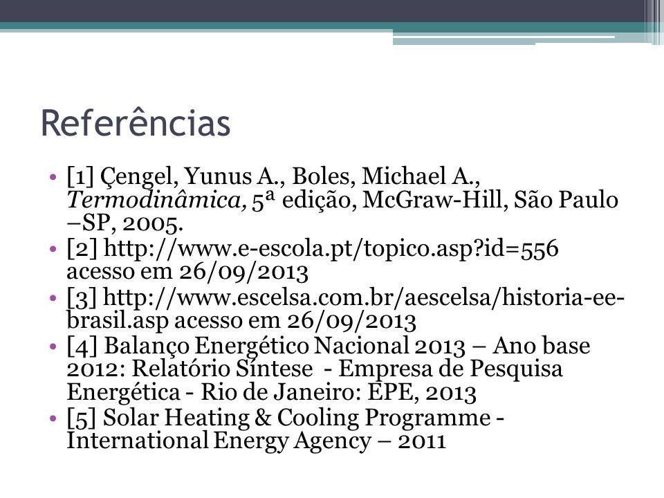 Referências [1] Çengel, Yunus A., Boles, Michael A., Termodinâmica, 5ª edição, McGraw-Hill, São Paulo –SP, 2005.